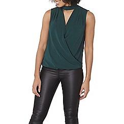 Dorothy Perkins - Green sleeveless choker top