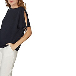 Dorothy Perkins - Navy tie cold shoulder top