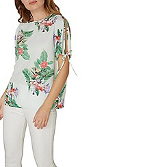Dorothy Perkins - Tropical tie cold shoulder top