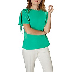 Dorothy Perkins - Green tie cold shoulder top