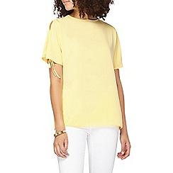Dorothy Perkins - Tall lemon cold shoulder t-shirt