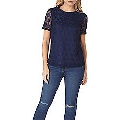 Dorothy Perkins - Navy daisy lace t-shirt