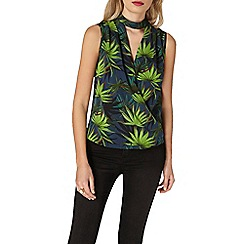 Dorothy Perkins - Leaf wrap choker top