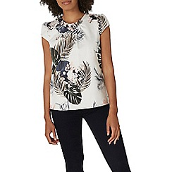 Dorothy Perkins - Ivory tropical shell top