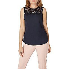 Dorothy Perkins - Navy lace insert shell top