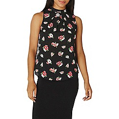 Dorothy Perkins - Spotted rose print pleat neck shell top