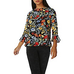 Dorothy Perkins - Black floral flute sleeves top