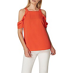 Dorothy Perkins - Coral ruffle cold shoulder top
