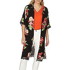 Dorothy Perkins - Black floral longline kimono