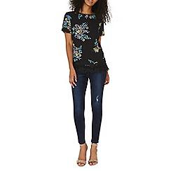 Dorothy Perkins - Black floral lace hem t-shirt