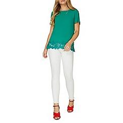 Dorothy Perkins - Green crochet hem woven t-shirt