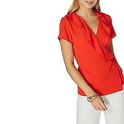 Dorothy Perkins - Red ruffle front wrap top