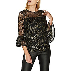 Dorothy Perkins - Black gold lace flute sleeves top