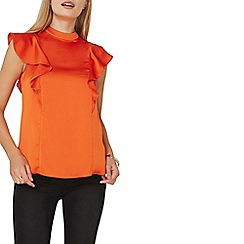 Dorothy Perkins - Orange high neck ruffle top