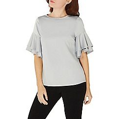 Dorothy Perkins - Silver double ruffle top
