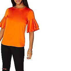 Dorothy Perkins - Orange double ruffle top