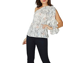 Dorothy Perkins - Ivory floral print one shoulder top