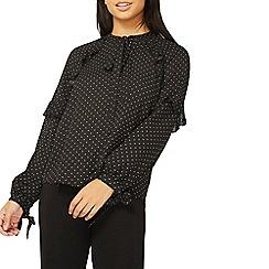 Dorothy Perkins - Black polka dot print ruffle pussybow blouse