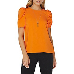 Dorothy Perkins - Orange puff sleeves necklace top
