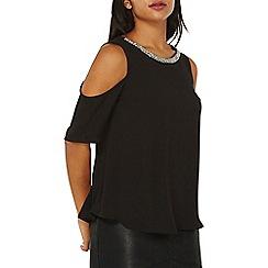 Dorothy Perkins - Black embellished cold shoulder top