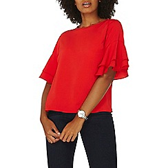 Dorothy Perkins - Red double ruffle sleeves top