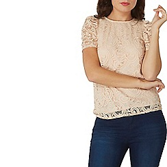 Dorothy Perkins - Blush lace puff sleeves top