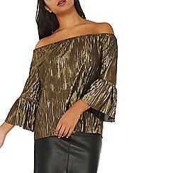 Dorothy Perkins - Gold plisse pleated bardot top