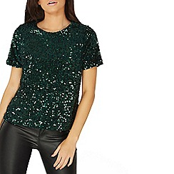 Dorothy Perkins - Green sequin embellished t-shirt