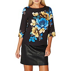 Dorothy Perkins - Black placement floral print top