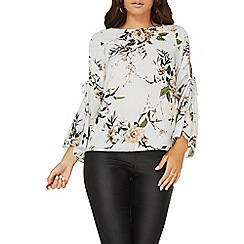 Dorothy Perkins - Grey floral print cold shoulder top