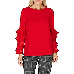 Dorothy Perkins - Red ruffle long sleeves top