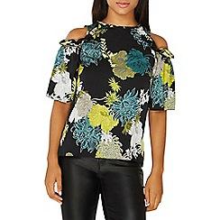 Dorothy Perkins - Multi-coloured floral print cold shoulder top