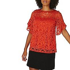Dorothy Perkins - Orange lace ruffle t-shirt