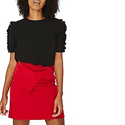 Dorothy Perkins - Black frill sleeves woven t-shirt