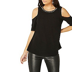 Dorothy Perkins - Black embellished neck cold shoulder top