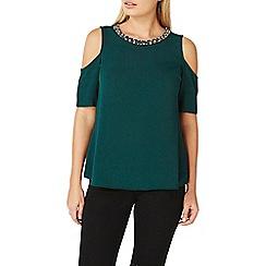 Dorothy Perkins - Green embellished neck cold shoulder top