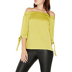 Dorothy Perkins - Lime green eyelet tie cuff bardot top