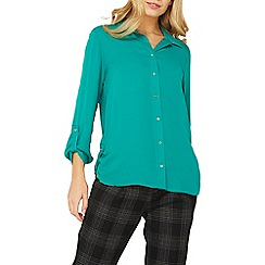 Dorothy Perkins - Green tab roll sleeve shirt