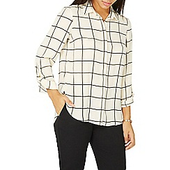 Dorothy Perkins - Cream checked print tab roll sleeve shirt