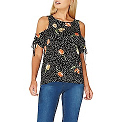 Dorothy Perkins - Black spot and floral print ruched top