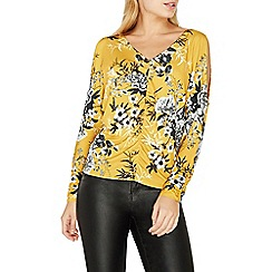Dorothy Perkins - Yellow floral ruched top