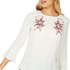 Dorothy Perkins - Ivory floral embroidered flute sleeve top