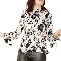 Dorothy Perkins - Blush floral print high neck blouse
