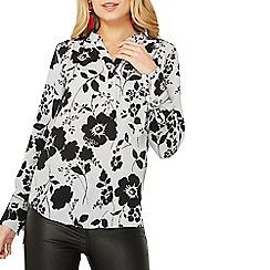 Dorothy Perkins - Grey floral collarless shirt