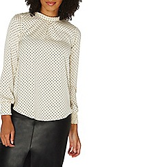 Dorothy Perkins - Cream spotted shirred cuff top