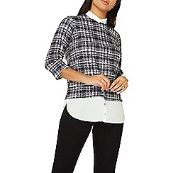 Dorothy Perkins - Black checked ponte 2 in 1 top