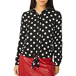 Dorothy Perkins - Black polka dot print tie front shirt