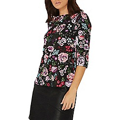 Dorothy Perkins - Black floral print puff sleeves top