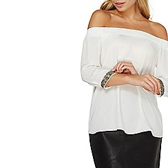 Dorothy Perkins - White embellished cuff bardot top