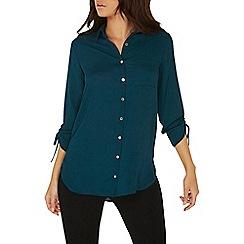 Dorothy Perkins - Green longline draw cord shirt